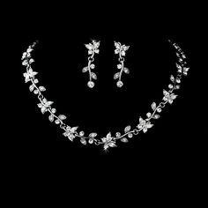 Crystal Butterfly  Silver Plated Bridal Jewelry