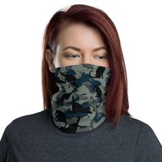 This neck gaiter is a versatile accessory that can be used as a face covering, headband, bandana, wristband, and neck warmer. Upgrade your accessory game and find a matching face shield for each of your outfits. Marine Blue, Neck Warmer, Fabric Weights, Bandana, Blue Green, Camo, Hoodies, Stretch Fabric, Stretches