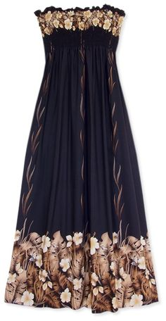 Elegance so easy. Bronze flora in simple black, Lavahut's Mina Hawaiian Maxi Dress.