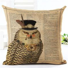 New Arrival Throw Pillow Cushion Home Decor Couch Newspaper With Owl Printed Linen Cuscino Square Cojines Almohadas Teal Cushions, Gold Pillows, Throw Cushions, Diy Pillows, Diy Dog Bed, Dog Pillow Bed, Throw Pillow, Dog Beds, Modern Decorative Pillows