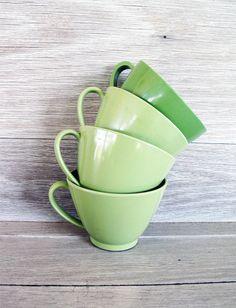 Vintage Melamine Cups, Set of 4, Green, Coffee/Tea Cups $10