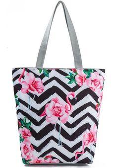 Miyahouse Striped And Flamingo Printed Shoulder Bag Female Canvas Design Summer Beach Bag Lady Daily Use Women Shopping Bag Canvas Handbags, Canvas Tote Bags, Tote Handbags, Flamingo Print, Pink Flamingos, Flamingo Party, Printed Tote Bags, Beach Tote Bags, Strand