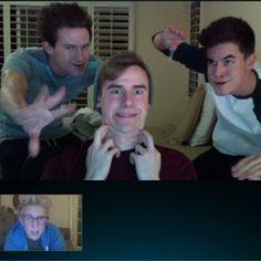 Connor, Ricky, and Kian Skyping Tyler!! ahhhh I love these boys!