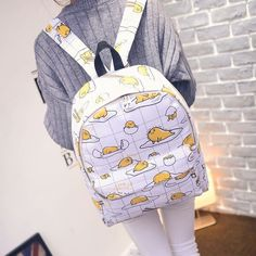 "Japanese harajuku cartoon fried egg backpack  Coupon code ""cutekawaii"" for 10% off"