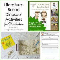 Roundup of literature-based dinosaur activities and free printables for preschoolers; part of the Blog Hop for Enchanted Homeschooling Mom
