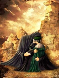 """""""O my dear aunt where is my father a few minutes ago I was with my father and he kissed me and said to me that my dear Sakina you will soon be with me. But where is my father now?"""" — Hashemite Princess Sakina (س) told her dream to Zaynab al-Aqeelah (س) Islamic Images, Islamic Pictures, Muharram Pictures, Ali Islam, Imam Hussain Karbala, Imam Hussain Wallpapers, Karbala Photography, Islamic Art Pattern, Islamic Paintings"""