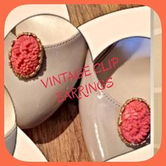 💞 VINTAGE CORAL CAMEO CLIPS💞 These are from grandmas collection and they are stunning. NOT vintage inspired! And comfortable enough to talk on the phone without removing them! LOVE LOVE LOVE🌺 HP STYLE REVIVAL 12.8.14 💞💞💞 @christinaslaya Vintage Jewelry Earrings