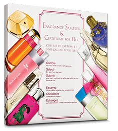 FOOD TEST --------- Fragrance Sampler & Certificate for Her - With the His & Hers fragrance sampler you can: Sample 10 fabulous fragrances. Select the scent you like best Submit your scent certificate for a full-size bottle of your favourite one Gift Finder, Food Test, Certificate, Make It Simple, Bottle, Fragrances, Easy, Gifts, Gift Ideas
