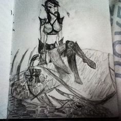A Dunmer warrior girl sitting on a dragon. #Skyrim #elderscrolls
