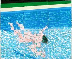 "urgetocreate: "" David Hockney, Swimmer Underwater, colored and pressed paper pulp "" David Hockney Pool, David Hockney Artist, David Hockney Paintings, Hockney Swimming Pool, Jasper Johns, Robert Rauschenberg, Andy Warhol, Edward Hopper, Pop Art Movement"
