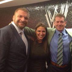 """Paul Levesque """" triple h"""" , Stephanie McMahon and Vince McMahon"""