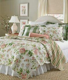 Vintage Bedroom Spring Garden Quilt - Rambling roses and pretty peonies in shades of pink and green with a scalloped edge from Country Curtains! Bedroom Decor Design, Home, Home Bedroom, Country Curtains, Bedroom Green, Country Bedroom, Chic Bedroom, Remodel Bedroom, Shabby Chic Bedrooms