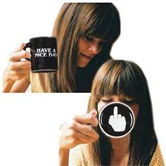 Vansaile Nice Day Mug Middle Finger Funny Coffee Milk Juice or Tea Cups, Ceramic, Black