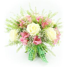 Spread your love and care to your family and friends with a cute hand-tied bouquet made up of roses, alstroemeria, gypsophila and greenery! Perfect to celebrate any occasion! Early May Bank Holiday, Hand Tied Bouquet, Same Day Flower Delivery, Gypsophila, Grandparents Day, Flowers Online, Summer Flowers, Amazing Flowers, White Roses
