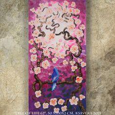 BIRD on brunch lilac blossom tree SAKURA art love painting contemporary artwork acrylic on canvas by Ksavera gift ideas for her decor by KsaveraART #TrendingEtsy