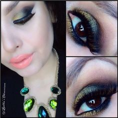 """Lovely Green and Gold smokey eyes by @Bellaobsession  for the Fall Lashes:: #FlutterLashes """"Jasmine"""" from New Blends Collection crafted with Mink and Fox ✨Visit us at www.FlutterLashes.com✨"""