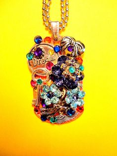 Flower Bouquet Dog Tag Pendant Number 1083 by BradosBling on Etsy, $34.99