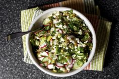 Chopped Salad with Feta, Lime, Mint and Sunflower Seeds Recipe Salads with vegetables, feta cheese crumbles, scallions, toasted sunflower seeds, fresh lime juice, olive oil, kosher salt, chile powder, ground black pepper, mint leaves