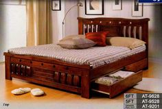 Ordinaire Queen Bed Frames | AT 9528 Solid Wood Queen Bed Frame With Drawers FOR SALE  From Kuala .