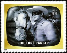 "This Lone Ranger stamp is from the ""Early TV Memories"" issue of 2009. Since his radio debut in 1933, this masked hero has captivated loyal fans in books, movies, comics, and -most successfully of all- television.  Copyright U.S. Postal Service. #loneranger #postage"