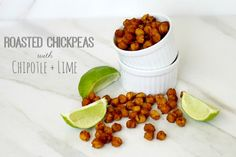Roasted Chickpeas with Chipotle and Lime - chickpeas, olive oil, chipotle powder, garlic powder, Himalayan pink salt, limes