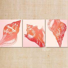 Printable beach art, sea shell wall art set, ocean room decor, red wall art coral color printable, conch shell art INSTANT DOWNLOAD pdf jpg
