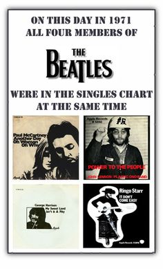 The Beatles - A collection of solo projects by John Lennon, Paul McCartney, Ringo Starr and George Harrison that hit the pip rock chart at the same time in a year after the band broke up. Ringo Starr, George Harrison, John Lennon, Paul Mccartney, The Beatles, Beatles Photos, Rock Bands, Rock Charts, Photo Souvenir
