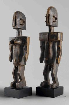 Africa | Pair of carved figures from the Dogon people of Mali | Wood