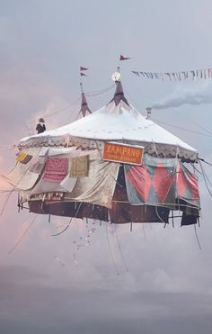 """flying circus tent. Sign says """"Zampano"""" ... I wonder if it's inspired by La Strada?"""