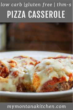This casserole is easy, savory, cheesy, and sure to be a family favorite! The meatballs can be made ahead of time and frozen, so this casserole can be super quick as well. This recipe is low carb and gluten free. #lowcarbpizza #pizzacasserole #glutenfree #trimhealthymama
