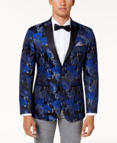 74cef07cf Tallia Men's Slim-Fit Blue and Black Floral Pattern Dinner Jacket & Reviews  - Blazers & Sport Coats - Men - Macy's