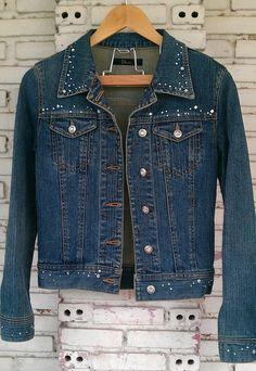 a8e9d976dcf87 Vintage Jean Jacket with Rhinestone   by KodChaPhornJacket465 Jeans  Refashion, Denim Vests, Jean Jackets