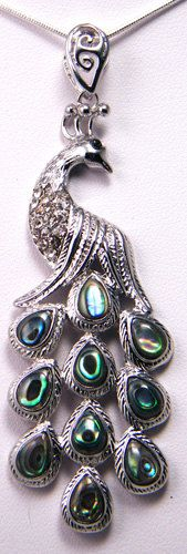 Peacock Abalone necklace with Sterling Silver Chain by paulette72, $18.00