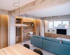 Un interior en madera y hormigón - Singulares Magazine New Homes, Loft, Living Room, Interior Design, House, Furniture, Home Decor, Decoration, Ideas