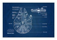 Wandtattoo - Star Wars Wallprints - W - Star Wars Blueprint Millennium Falcon, 60x40cm, ab 29,90 €