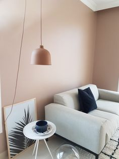 Find yourself a cosy corner with dusty pink walls. Bedroom Wall Colors, Wall Paint Colors, Bedroom Layouts, Living Room Paint, New Living Room, Living Room Decor, Bedroom Decor, House Color Schemes, House Colors