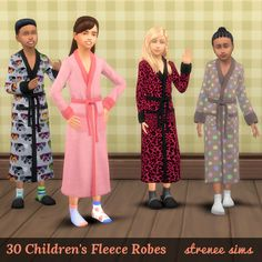 30 Children's Fleece Robes [SD] | Robes in prints, plaids & solids. #sims4 #sims4cc #sleepwear