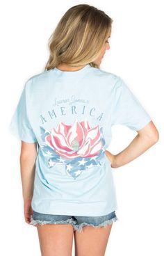Lauren James American Magnolia Tee- Blue