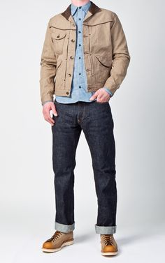 Stevenson Overall Co. Mens Outdoor Fashion, Mens Fashion, Men's Outfits, Casual Outfits, Military Jacket Outfits, Stevenson Overall, Teenage Boy Fashion, Country Man, Khaki Jacket