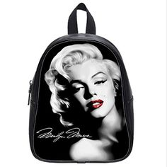 Custom Unisex Leather Teenager School Bag Marilyn Monroe Printed Casual Travel Backpacks Large >>> Click image for more details.