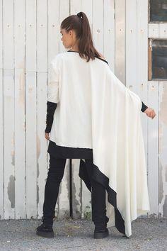 Asymmetrical white cotton oversized blouse. Plus size fashion.