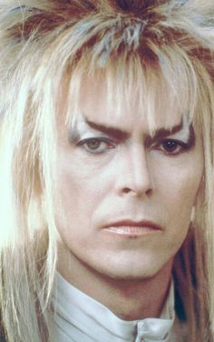 1986 - David Bowie as Jareth, The Goblin King in Labyrinth film.    Photo for makeup deference