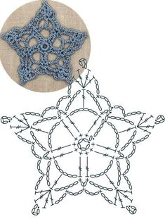 No 20 lace star lace crochet motifs 별 모양 모티브도안 Crochet Snowflake Pattern, Crochet Mandala Pattern, Crochet Stars, Crochet Circles, Crochet Motifs, Christmas Crochet Patterns, Holiday Crochet, Crochet Flower Patterns, Crochet Diagram