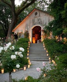 Lighted stairs to barn reception