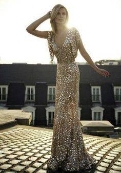 Custom style v-neck flutter sleeves gold sequin gown for Monica; metallic sparkle New Years wedding dress