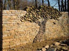 Creative Stone Wall - tree made of rocks
