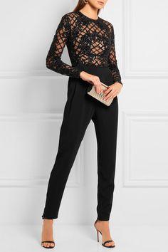 Zuhair Murad | Embellished tulle and silk-blend crepe jumpsuit | NET-A-PORTER.COM