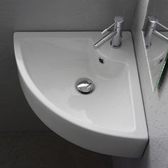 Scarabeo by Nameeks Square Wall Mounted Corner Bathroom Sink in White - Art. 8007/E