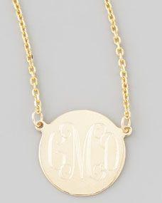 Cara Monogrammed 14kt Gold Necklace, 1/2