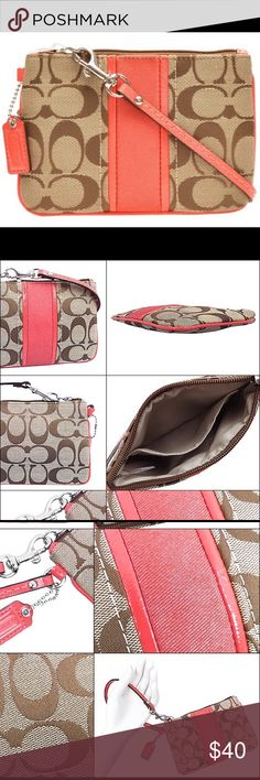 "NWT Coach khaki & coral colored wristlet NWT Coach khaki & coral colored wristlet.  Super cute and a perfect stocking stuffer for Christmas!!  Measures 6.5"" in length & 4"" in height Coach Bags"